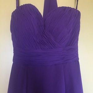 Mori Lee Purple Strapless Bridesmaid Dress